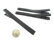 (40) Black Alligator Hair Clip with teeth , Silver Metal Curl Prong Clips Spring in Hair - 3 Inch 75mm