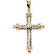 14K Yellow Gold .29 Ct Tw Diamond Cross