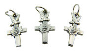 Jewellery Making Charms Lot of 3 Holy Dove with Sacred Heart Latin Cross 1.9cm Silver Mini Medal