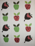 12 Applique Scrap Strawberries N Apples Quilt Blocks 17cm Squares
