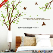 Toprate(TM) Super Large 160*155cm Tree and Birds,Quote love doesn't make the world go round, Removable Waterproof Double-sided Wallpaper Wall Sticker Decals PVC Vinly Wall Decal For Window Glass Door Room Living Room