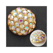 18mm Rhinestone Dome Button with Shank, Crystal AB/Gold by each