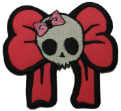 Pink Skull Cute Punk DIY Applique Embroidered Sew Iron on Patch