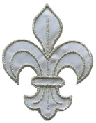 White-Silver Fleur de Lis Scout DIY Applique Embroidered Sew Iron on Patch