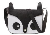 Five Season Cute Fox Shoulder Messenger Bag PU Leather Crossbody Satchel Handbag Black