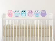 Owl Fabric Wall Decals, Set of 6 Owls Wall Stickers, Pink, Turquoise, Purple, Non-Toxic, Reusable, Repositionable - Size Small - 15cm Tall