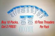 BridgeAid FlossAid FA-100 Dental Floss Threaders 10/pack BUY 10 Packs Get 2 FREE