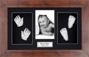 BabyRice Large Baby Casting Kit (great for Twins!), 37cm x 22cm Mahogany Dark Wood effect Frame, Black mount, Silver metallic paint