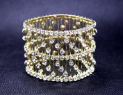 Exquisite Bridal Wedding Stretch Crystal Gold Bangle Bracelet