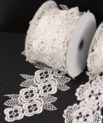 Floral Ivory Lace Ribbon, 10cm X 5y