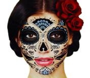 Black Glitter Skeleton Day of the Dead Temporary Face Tattoo Kit