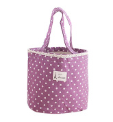 Happy Will Small Cute Polka Dot Lace Insulated Round Lunch Bag Tote Bag Lunch Organiser Lunch Holder Lunch Container with Stylus