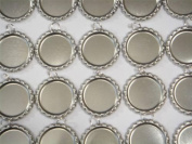 50 Flat Chrome Bottle Caps With 8mm Rings.