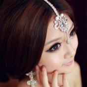 Rhinestone Frontlet Forehead Wedding Bridal Jewellery Crystal Drape Hair Headpiece