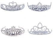 FUMUD 4PCS Elegant Wedding Bridal Prom Sparkling Crystal Rhinestones Crown Tiara with Comb