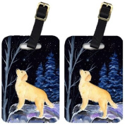 Starry Night Golden Retriever Luggage Tags Pair of 2
