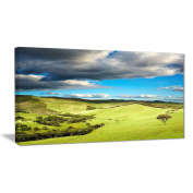 "Designart PT7002-100cm - 80cm Pasture Under Cloudy Sky Landscape Photo"" Canvas Print, Green, 100cm x 80cm"