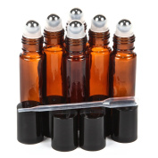 SZMWL Set of 6 - 10ml Amber Empty Refillable Stainless Steel Metal Roller Ball Roll on Glass Bottles with Pipettes and Funnel For Fragrance Essential Oil