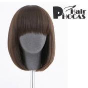HairPhocas® Medium Short Sorrel Bangs Curly Hair For Full Hair Wigs