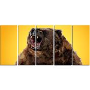 Digital Art PT2346-401 Fierce Grizzly Yellow Large Animal Canvas Art