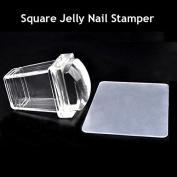 Akak Store Clear Jelly Nail Art Stamping Rectangular Transparent Stamper Plastic Scraper Kit DIY Polish Print Template Manicure Tools