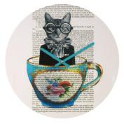 DENY Designs Coco De Paris Cat In A Cup Round Clock, 30cm Round