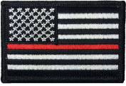 Tactical USA Flag Firefighter Fire & Rescue EMT EMS Thin Red Line Patch - Black & White 5.1cm x 7.6cm hook and loop Backing - By Ranger Return