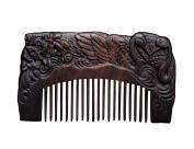 Icegrey Handmade Carved Swan Black Sandalwood Wooden Comb Hair Brush