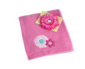 Gift Set Little Bedding by NoJo Tickled Pink Baby Blanket + Hot Pink Flower Baby Headband Bundle