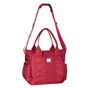 LCY Red Large Tote Messenger Backpack Multifunctional Nappy Bag