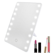 Xcellent Global 16 LED Makeup Mirror Cosmetic Vanity Mirror Touch Screen Dimmable, White HG158W
