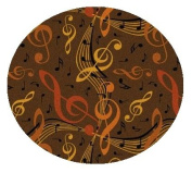 Virtuoso Music Notes Brown - 2.4m ROUND Custom Stainmaster Premium Nylon Carpet Area Rug ~ Bound Finished Edges