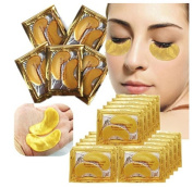 Malloom 20 Pairs Wholesale New Crystal Gold Powder Gel Collagen Eye Mask Masks Sheet