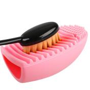 Maquita Pro Cosmetic Makeup Face Powder Blusher Toothbrush Foundation Brush + Cleaning Finger Glove Scrubber Board MakeUp Washing Brush
