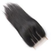 ZM Hair 4x 4 Silk Straight Lace Closure Natural Black Brazilian Hair 3 Way Part Swiss Lace top Closure