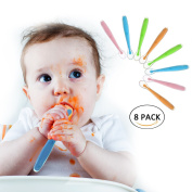 Biubee 8 pack Silicone Spoon - Soft Tip Feeding Spoons Gift Set for Baby - BPA, lead, phthalate and plastic free