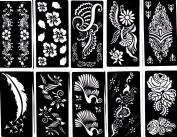 Henna Stencil Tattoo (10 Sheets) Self-Adhesive Temporary Tattoo Template - Beautiful Body Art Painting Mehndi Designs