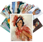 Postcard Pack 24pcs Beautiful Girls by Jean-Gabriel Domergue Vintage French Pin Up