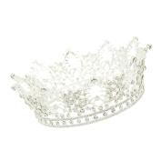 CamingHG Unisex Diamante White Crystal Sapphire Ruby Crown King Queen Pageant Tiara
